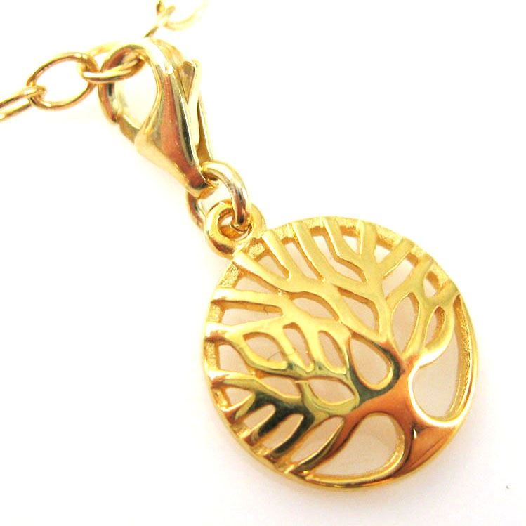 Gold Plated Sterling Silver Tree of Life Charm- Charm with Clasp - Charm Bracelet Charm- Add on Charm