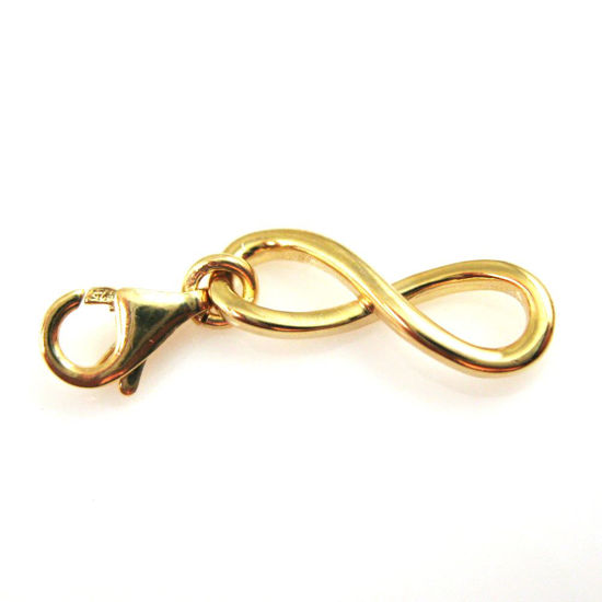 Gold plated Sterling Silver Infinity Charm - Charm with Clasp - Charm Bracelet Charm- Add on Charm