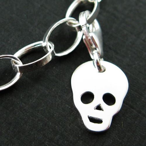 Sterling Silver Tiny Skull Charm - Charm with Clasp - Charm Bracelet Charm- Add on Charm