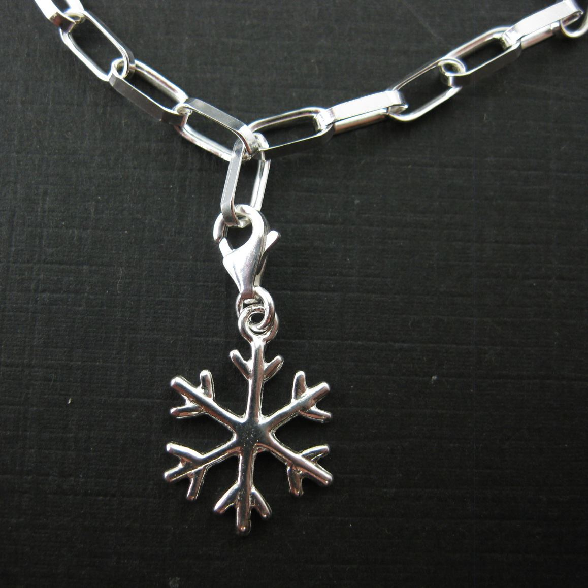 Sterling Silver Snowflake Charm - Charm with Clasp - Charm Bracelet Charm- Add on Charm