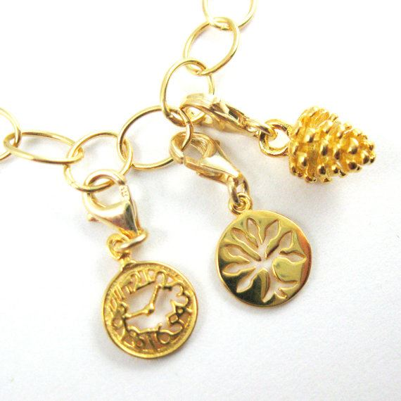 Gold plated Sterling Silver Tree Disc Charm- Charm with Clasp - Charm Bracelet Charm- Add on Charm
