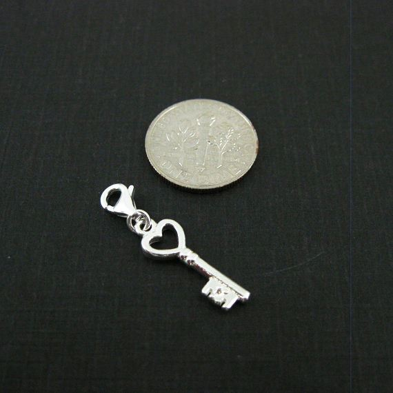 Sterling Silver Key with Heart Charm- Charm with Clasp - Charm Bracelet Charm- Add on Charm
