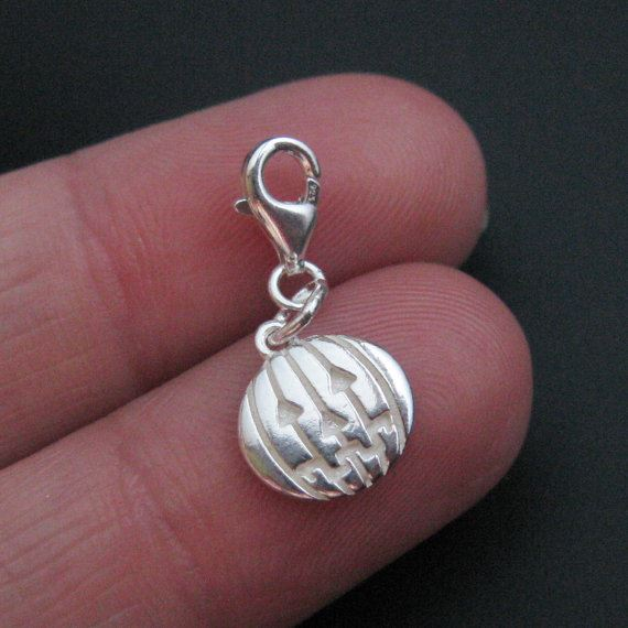 Sterling Silver Pumpkin Disc Charm - Charm with Clasp - Charm Bracelet Charm- Add on Charm