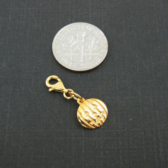 Gold plated Sterling Silver Pumpkin Disc Charm - Charm with Clasp - Charm Bracelet Charm- Add on Charm