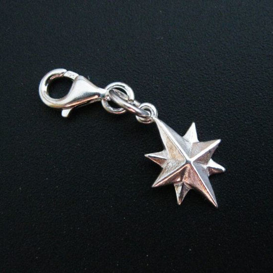 Sterling Silver Northern Star Charm - North Star - Charm with Clasp - Charm Bracelet Charm- Add on Charm