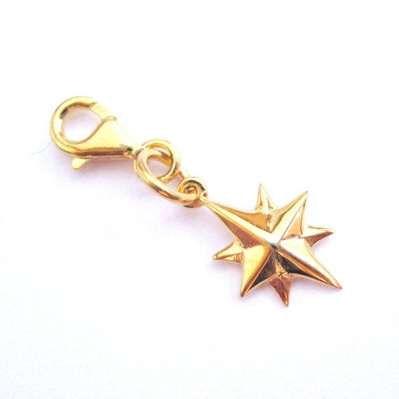 Gold plated Sterling Silver Northern Star Charm - North Star - Charm with Clasp - Charm Bracelet Charm- Add on Charm