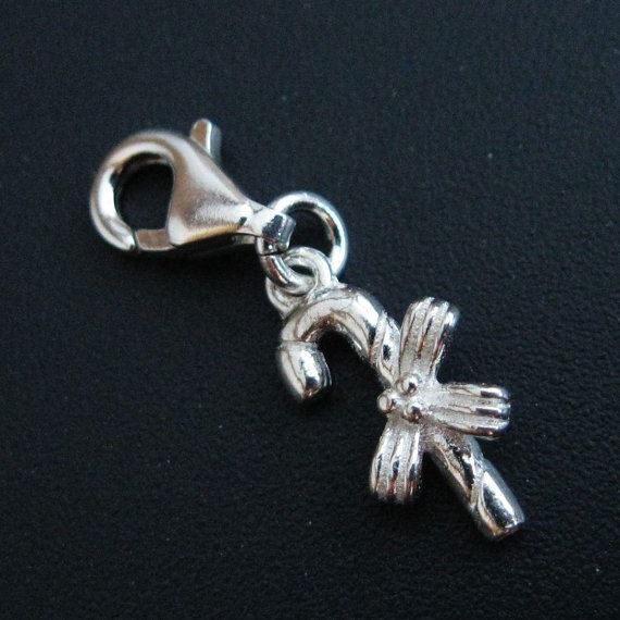 Sterling Silver Candy Cane Charm - Charm with Clasp - Charm Bracelet Charm- Add on Charm