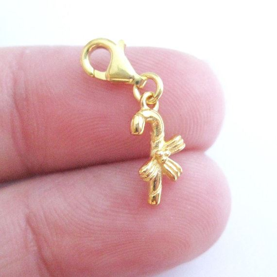 Gold plated Sterling Silver Candy Cane Charm - Charm with Clasp - Charm Bracelet Charm- Add on Charm