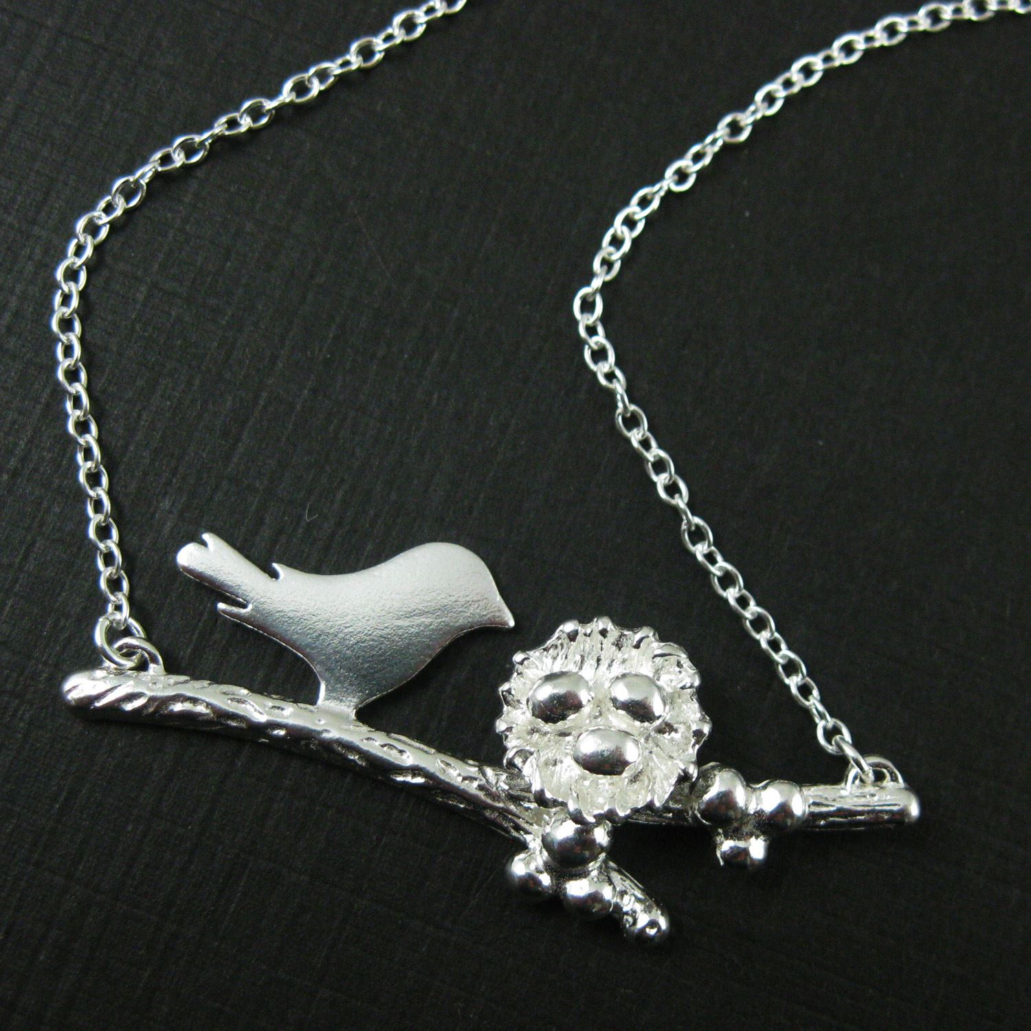 Sterling Silver Bird Family Necklace, Personalized Mothers Necklace, Mama and Nest with Eggs