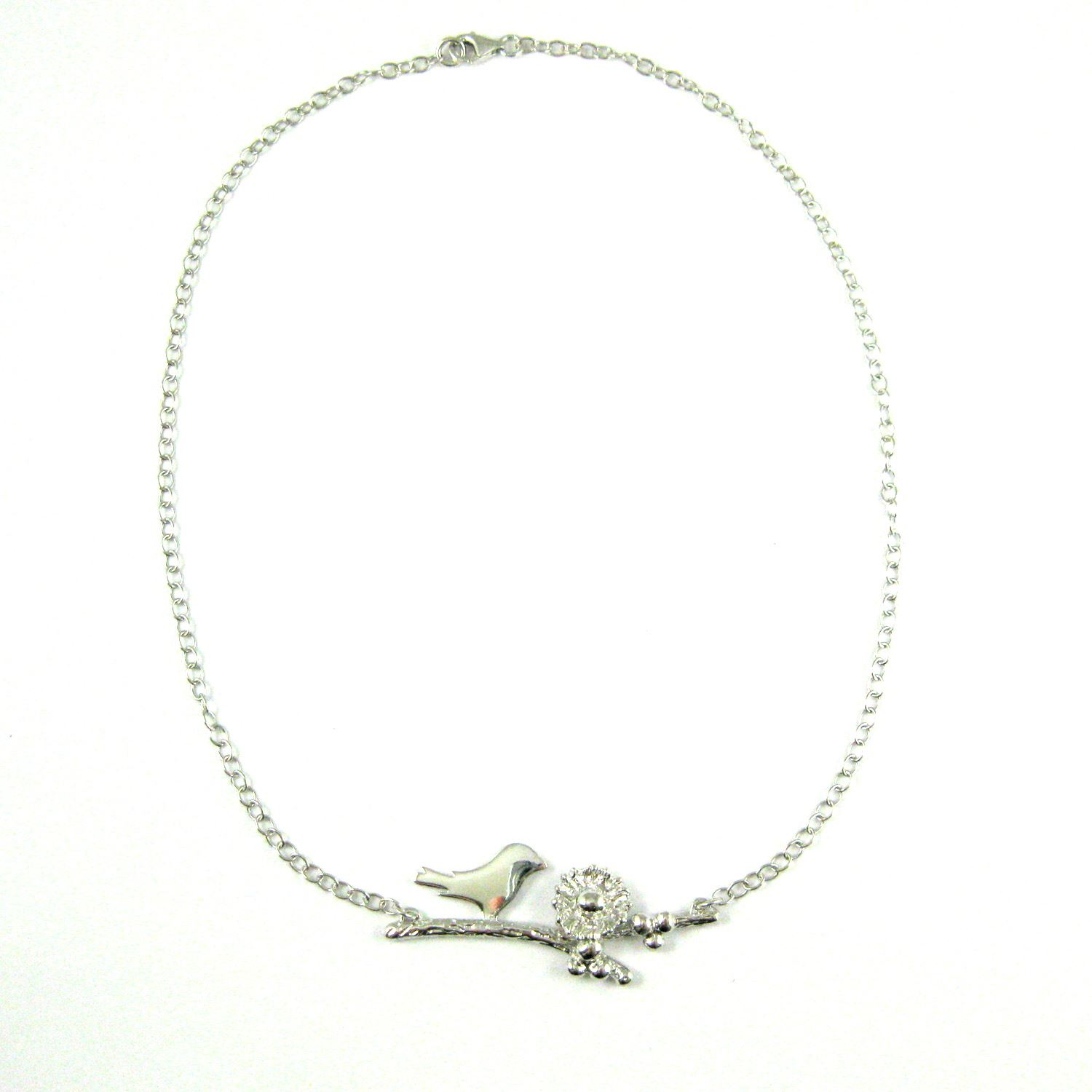 Rhodium plated Sterling Silver Bird Family Necklace, Personalized Mothers Necklace, Mama and Nest with Eggs