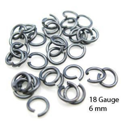 Oxidized Sterling Silver Open Jump Rings-18ga 6mm (20pcs)