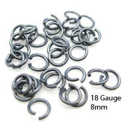 Oxidized Sterling Silver Open Jump Rings-18ga/8mm (20 pcs)