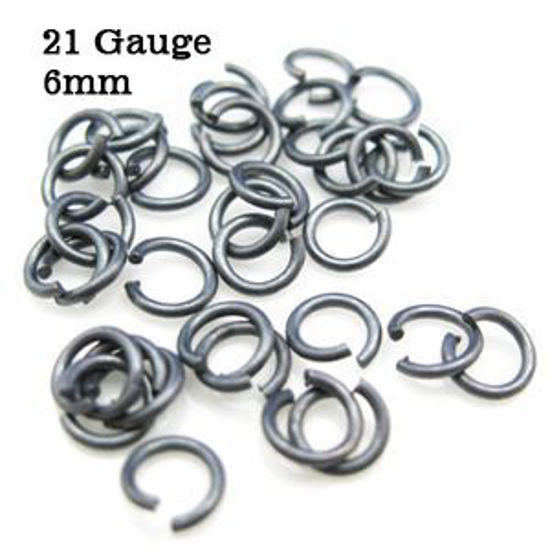 Oxidized Sterling Silver Open Jump Rings -21 ga- 6mm OD(20pcs )