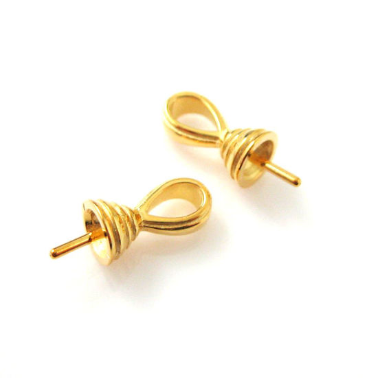 22k Gold plated,925 Sterling Silver,Fancy Bead caps,Bead cap with post ( 2 pcs )-