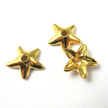 Gold plated Sterling Silver Bead Cap 925, Flower Bead Cap, Star Bead Cap- Silver Spacer- 7mm ( 5 pcs)