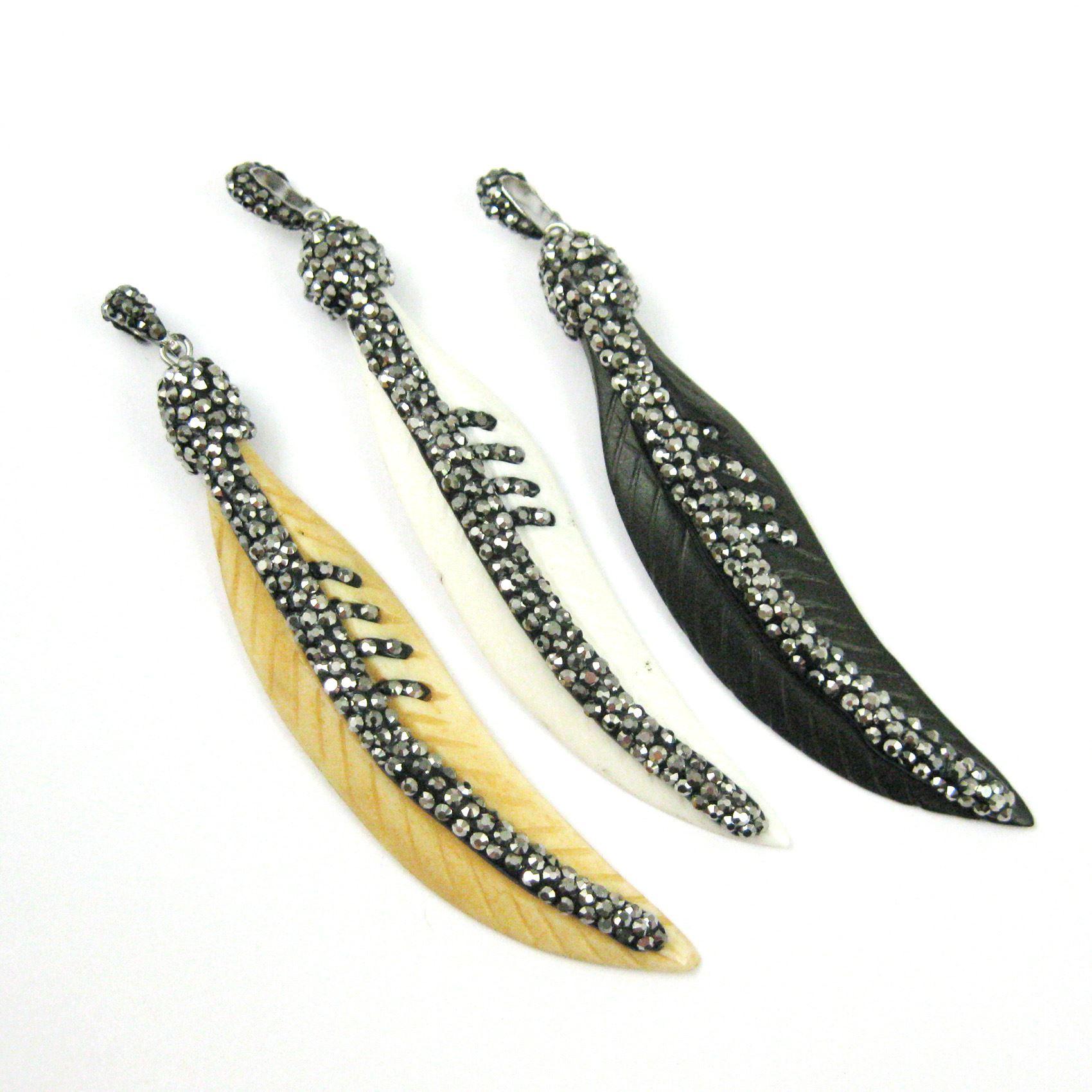 Genuine Buffalo Bone Leaf, Zircon Pave Embellished Long Textured Feather Pendant,Boho Pave Pendant, Genuine Bone Pendant- Mustard - Small- 66mm