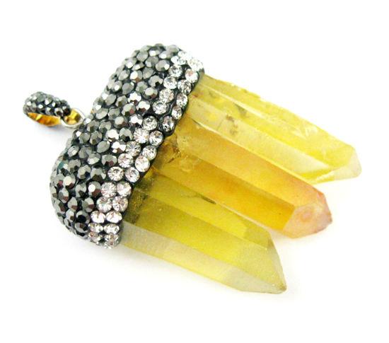 Natural Aura Quartz Tri Crystal Pave Pendant - Tri Pendulum Spike Pendant - Yellow Crystal- 45mm