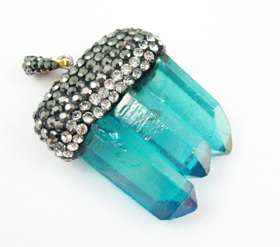 Natural Aura Quartz Tri Crystal Pave Pendant - Tri Pendulum Spike Pendant - Teal Crystal- 45mm