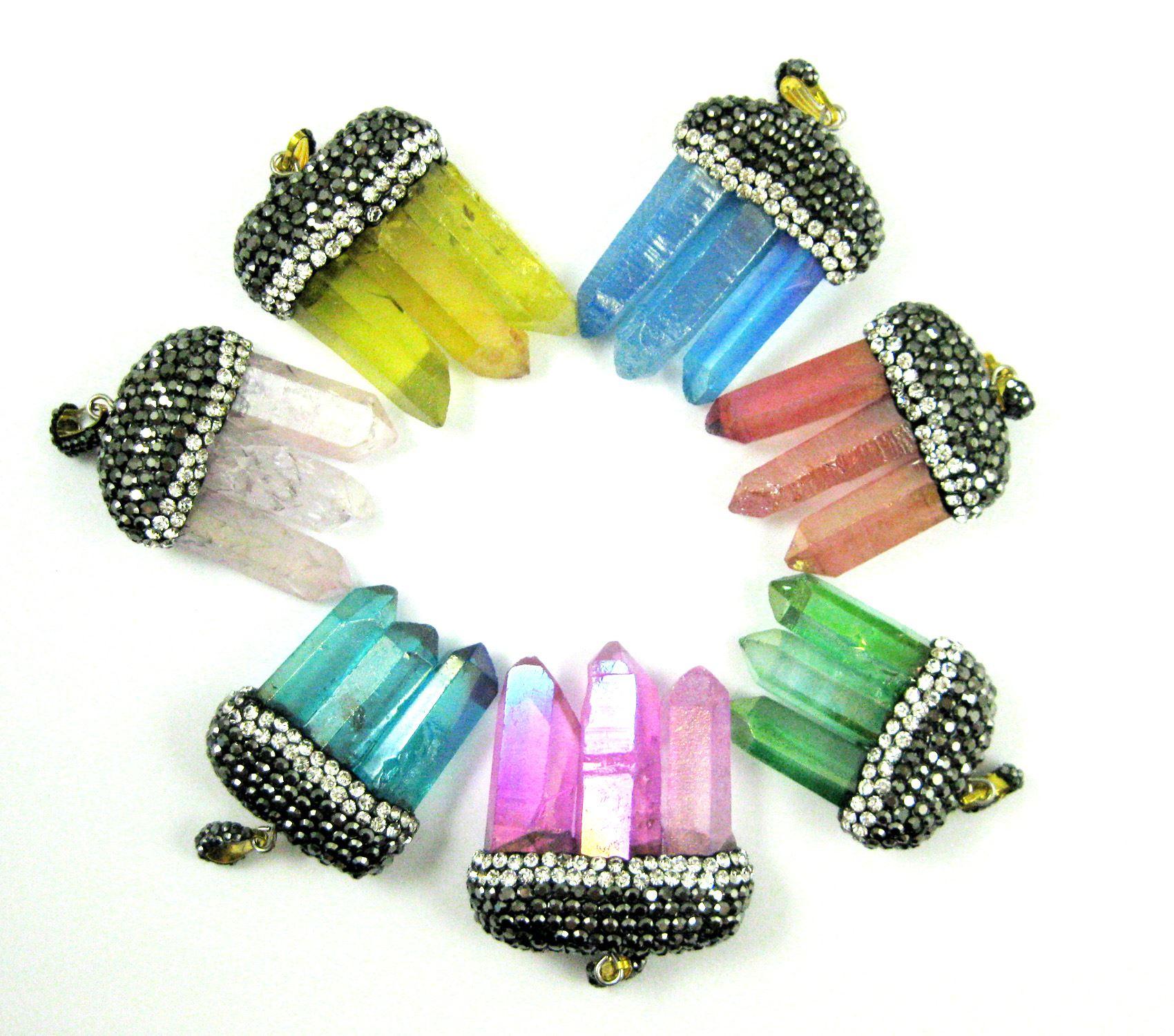 Natural Aura Quartz Tri Crystal Pave Pendant - Tri Pendulum Spike Pendant - Pink Crystal- 45mm