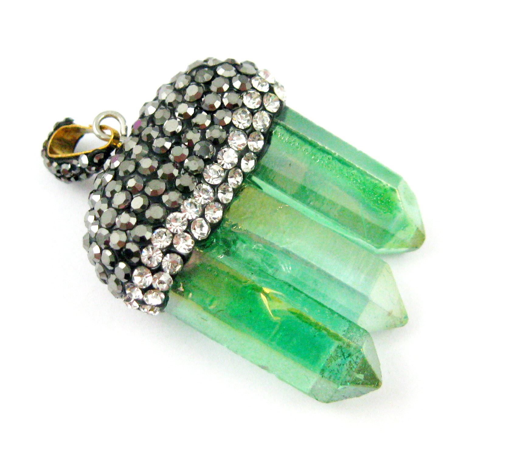 Natural Aura Quartz Tri Crystal Pave Pendant - Tri Pendulum Spike Pendant - Green Crystal- 45mm