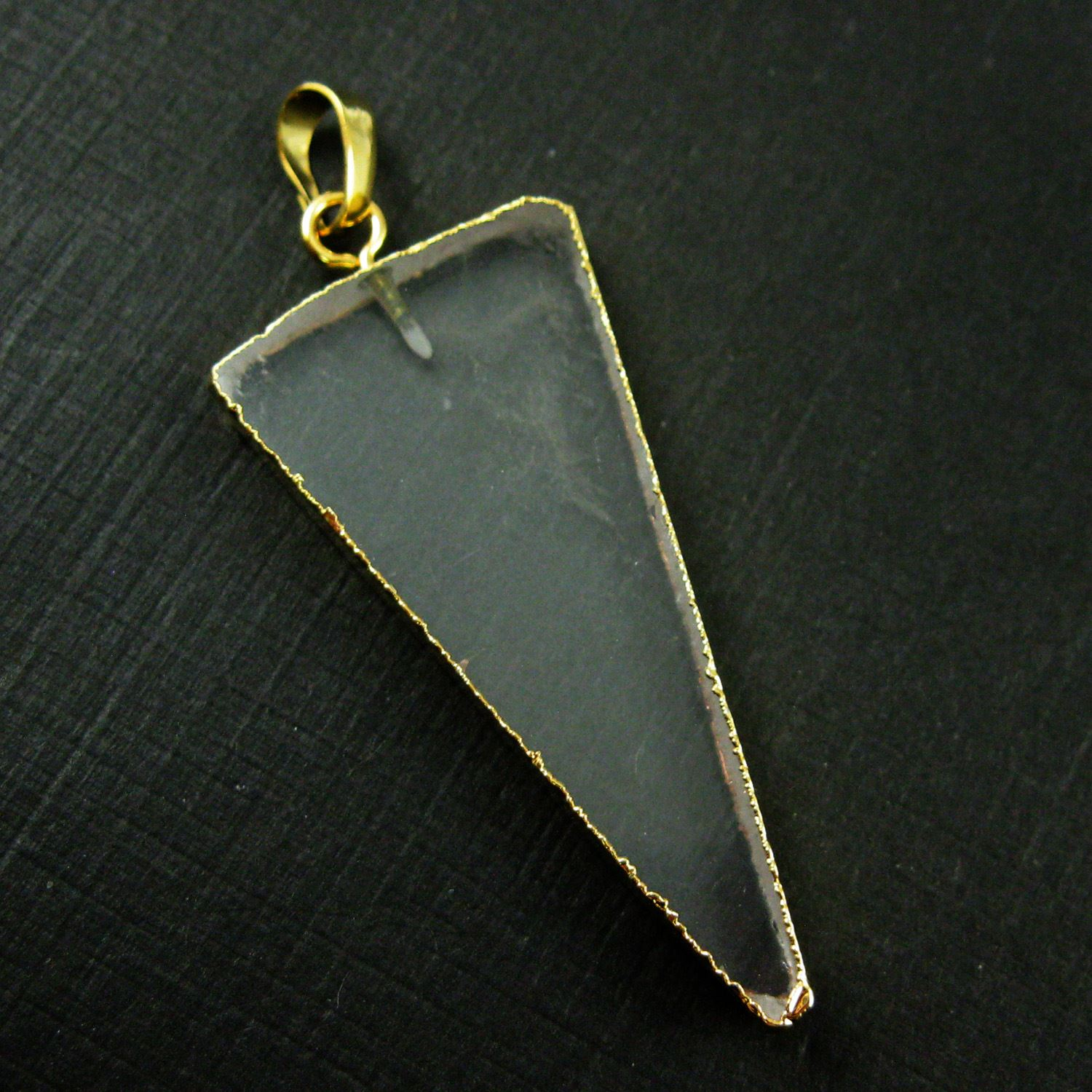 Crystal Pendant, Long Triangle Spike, Triangle Natural Crystal Necklace Pendant Gold plated Edging- 57mm