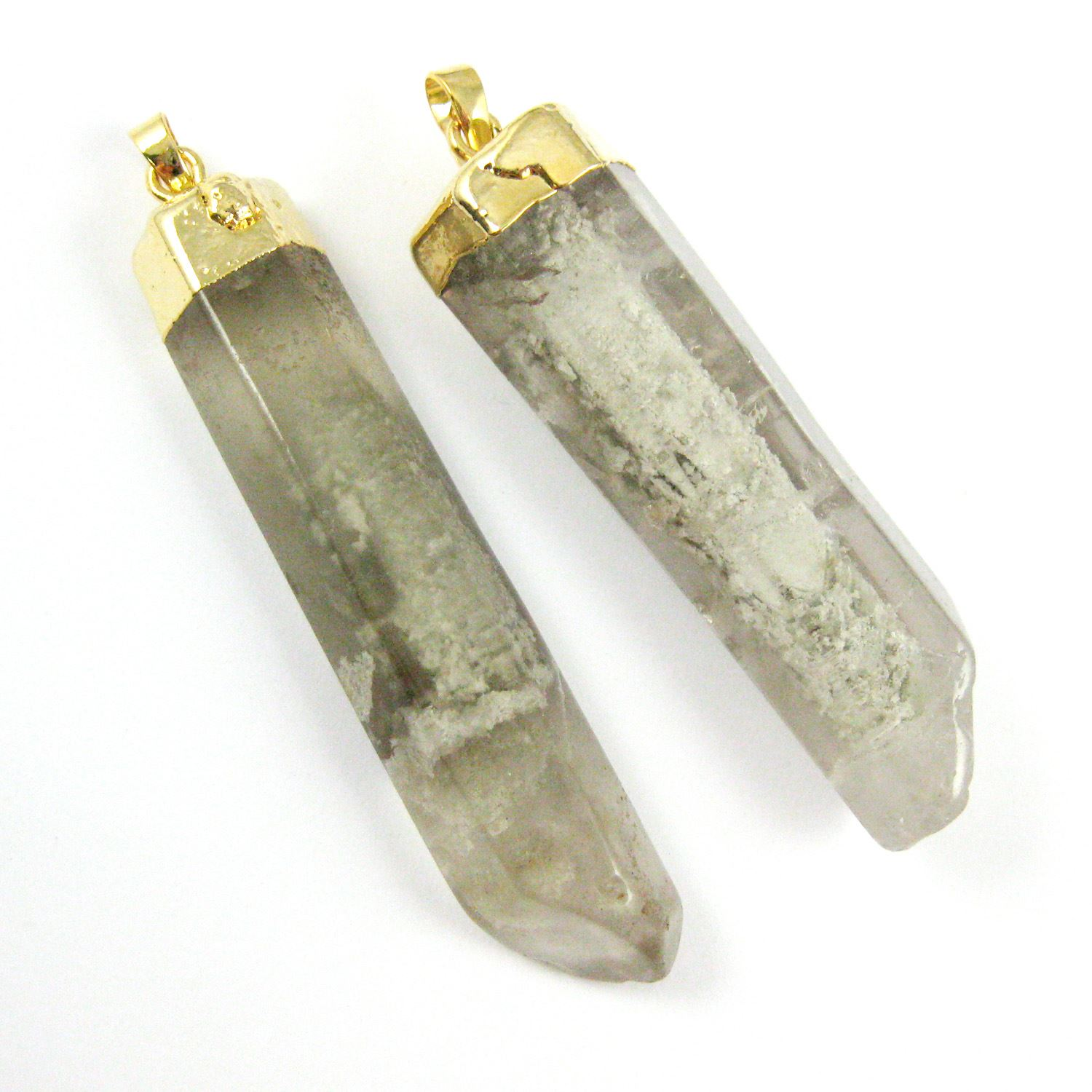 Natural Raw Grey Rutilated Crystal,Large Spike Pendant,Gold plated Brass