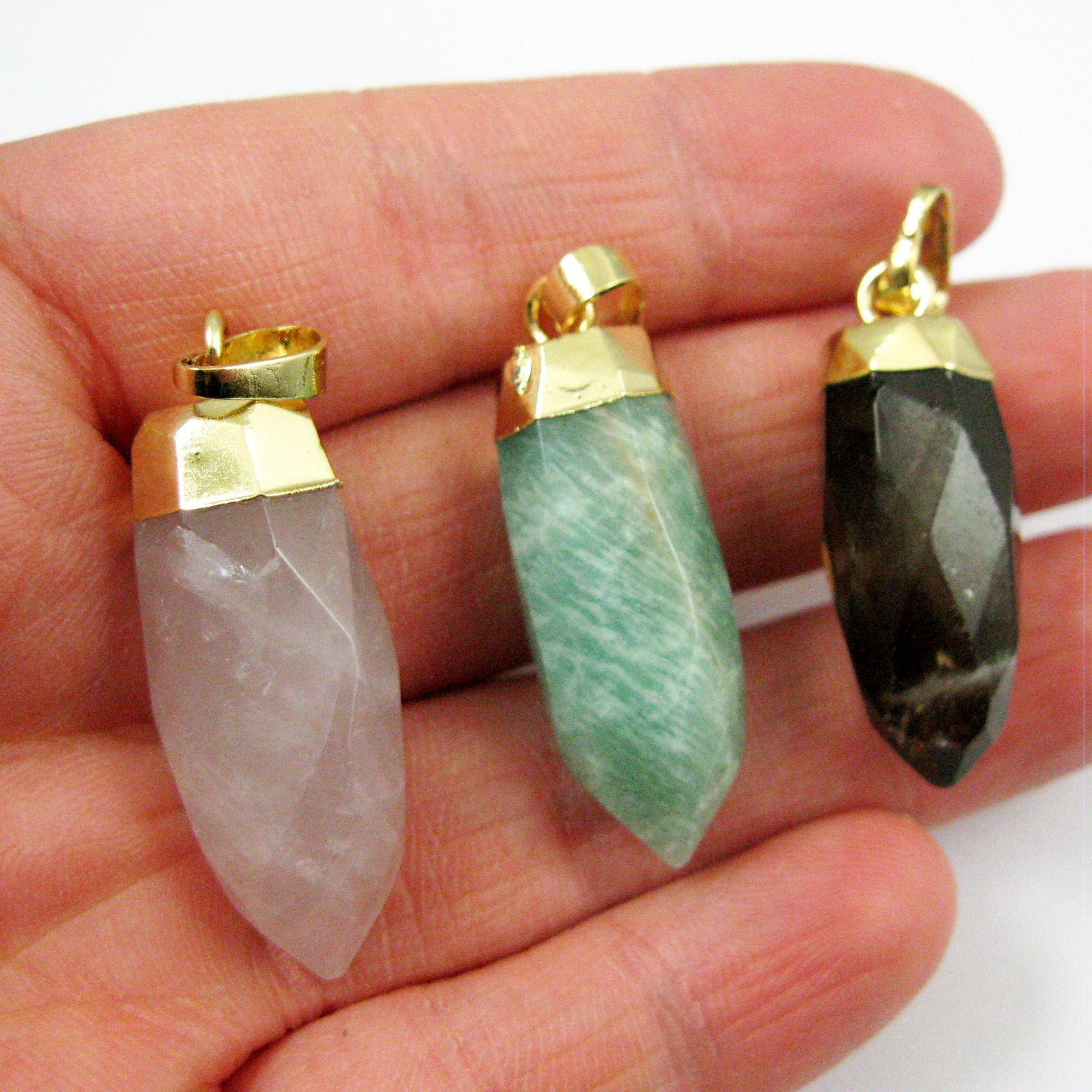 Gemstone Spike Pendant, Faceted Druzy Spike Pendant,Prehnite Pendant with Gold plated Bail- 30mm