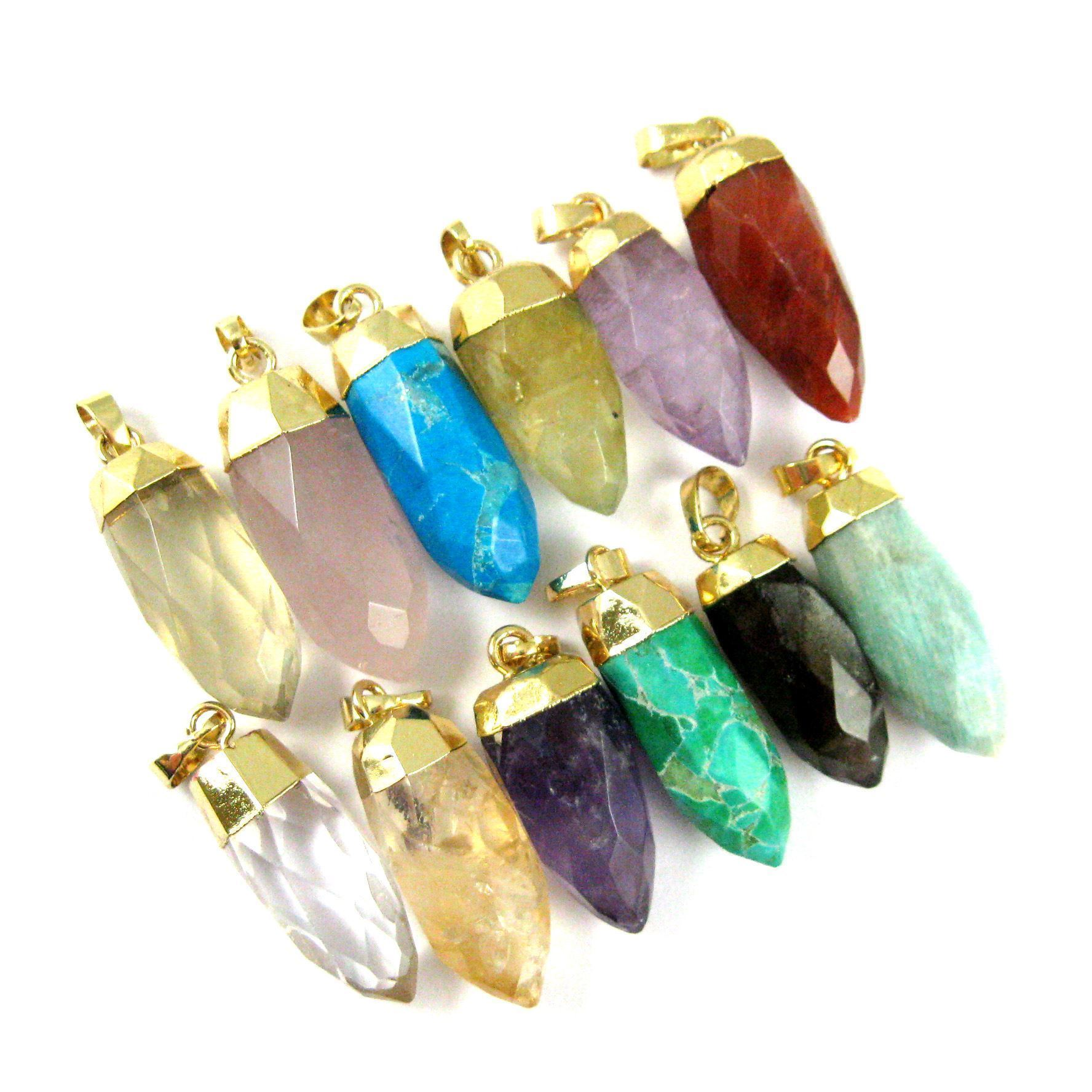 Gemstone Spike Pendant, Faceted Druzy Spike Pendant,Rose Quartz Pendant with Gold plated Bail- 30mm