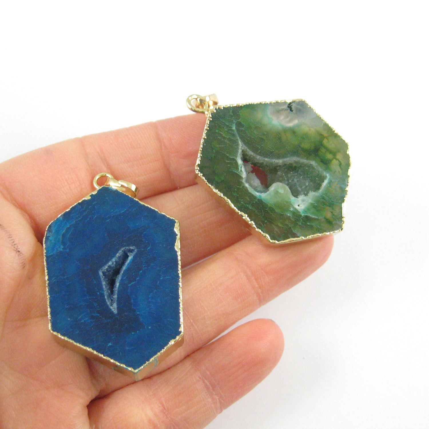 Druzy Geode Hexagon Pendant, Geode Window Agate- Natural Green Agate 45mm