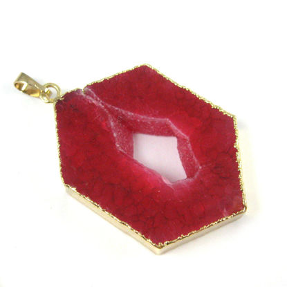 Druzy Geode Hexagon Pendant, Geode Window Agate- Natural Pink Agate 45mm