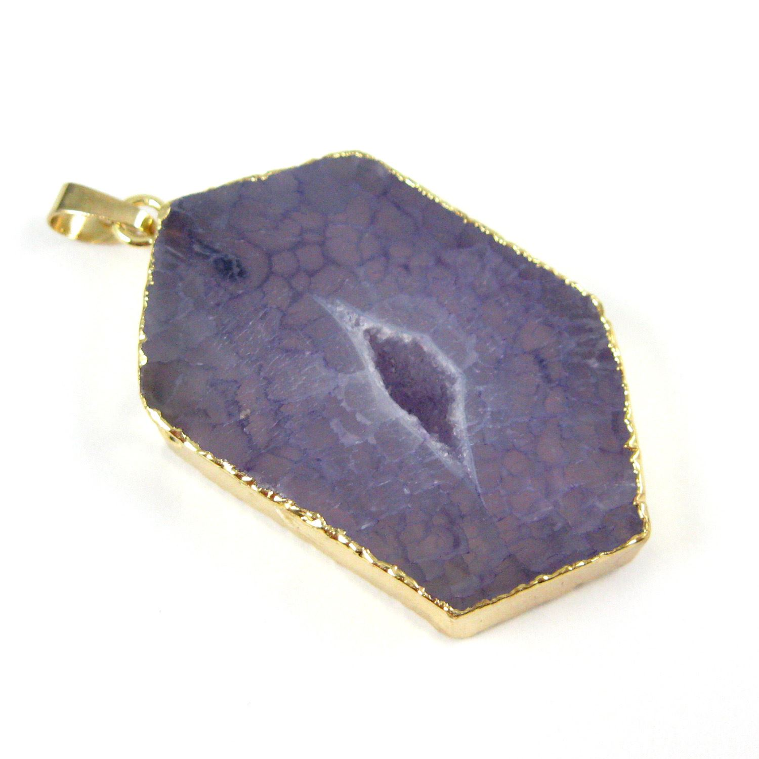 Druzy Geode Hexagon Pendant, Geode Window Agate- Natural Purple Agate 45mm