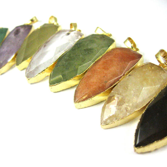 Gold Plated Faceted Arrowhead Pendant-Arrowhead charm-Natural Gemstone Spike Pendant - Crystal- 40mm