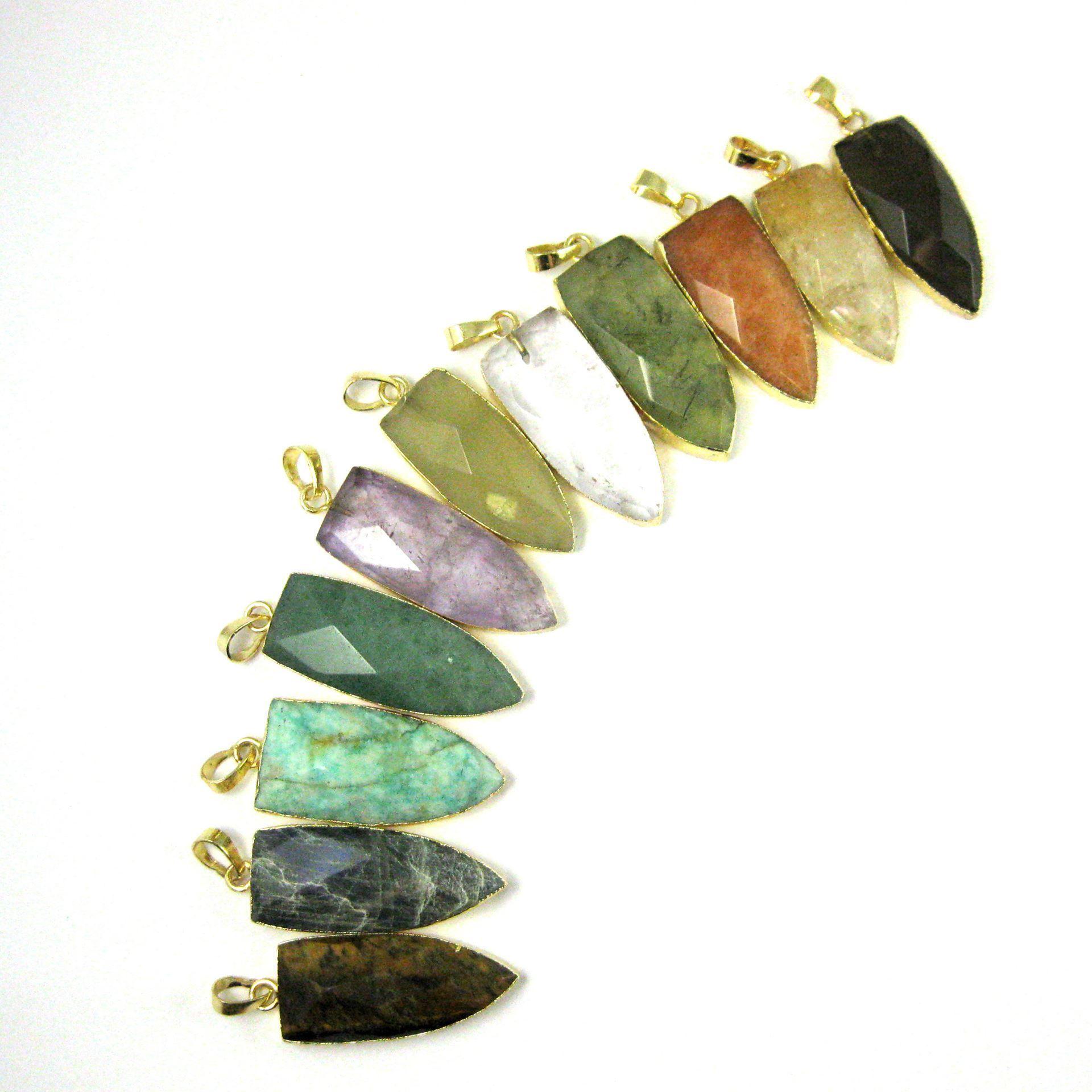 Gold Plated Faceted Arrowhead Pendant-Arrowhead charm-Natural Gemstone Spike Pendant - Smokey Quartz - 40mm