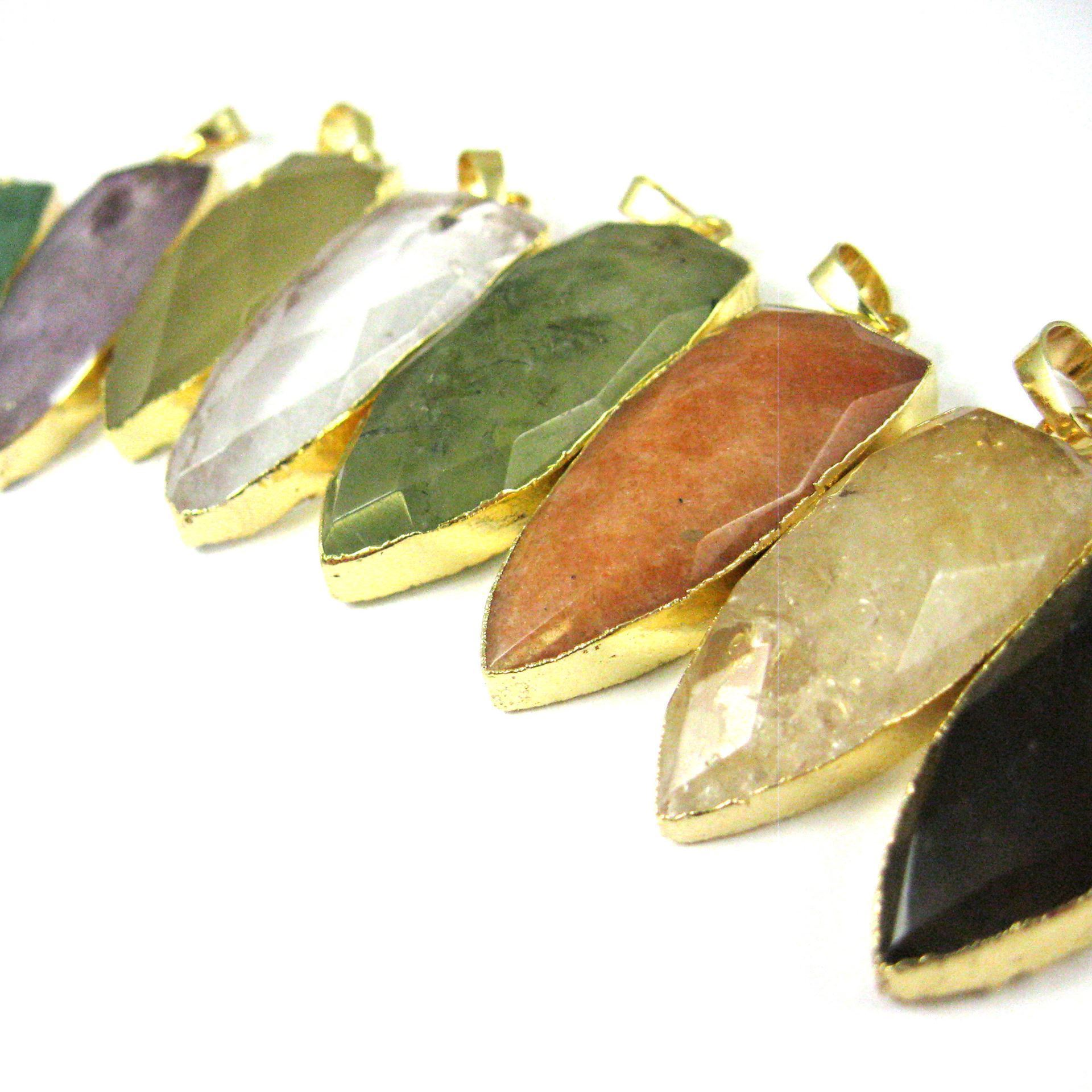 Gold Plated Faceted Arrowhead Pendant-Arrowhead charm-Natural Gemstone Spike Pendant - Tiger Eye - 40mm