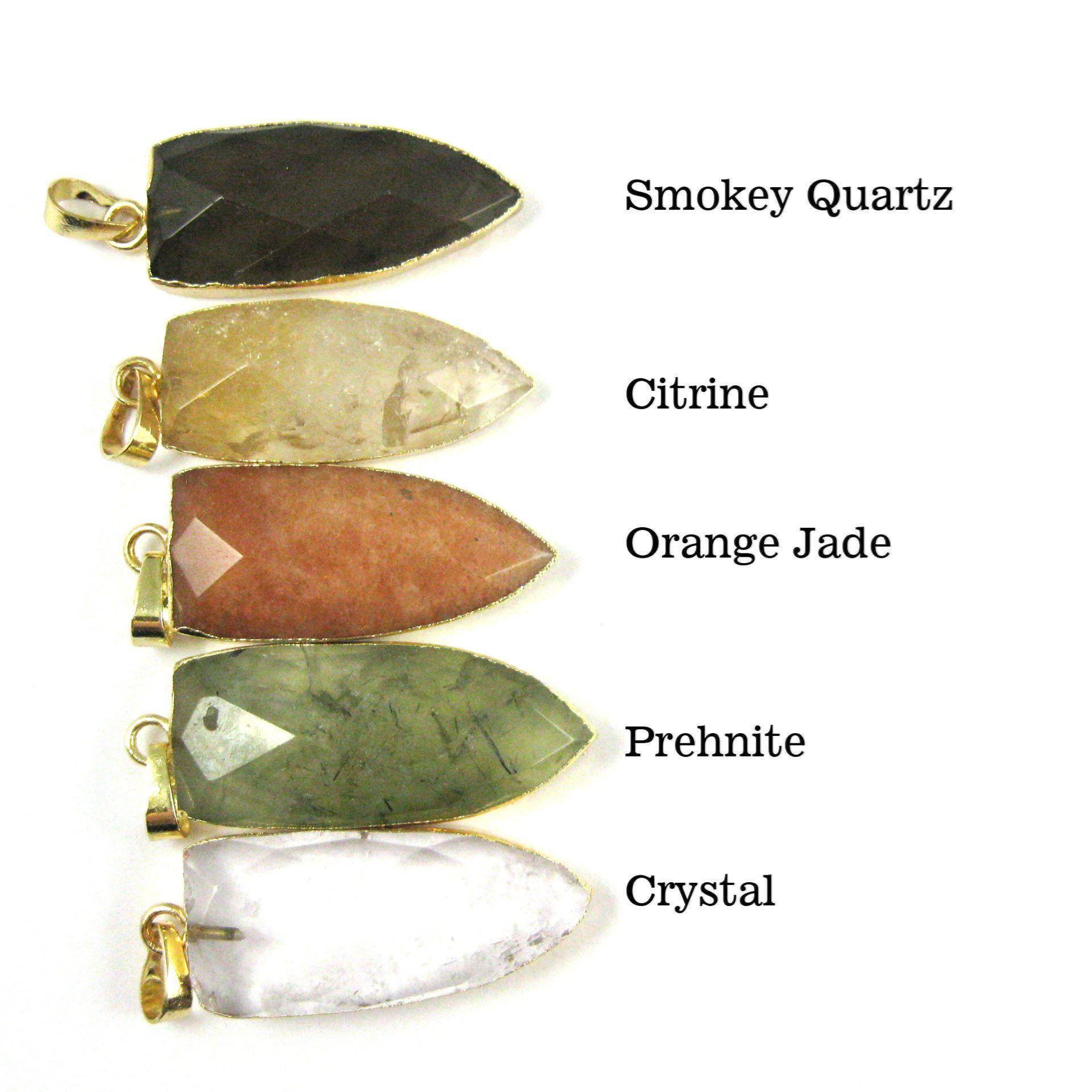 Gold Plated Faceted Arrowhead Pendant-Arrowhead charm-Natural Gemstone Spike Pendant - Lemon Quartz - 40mm
