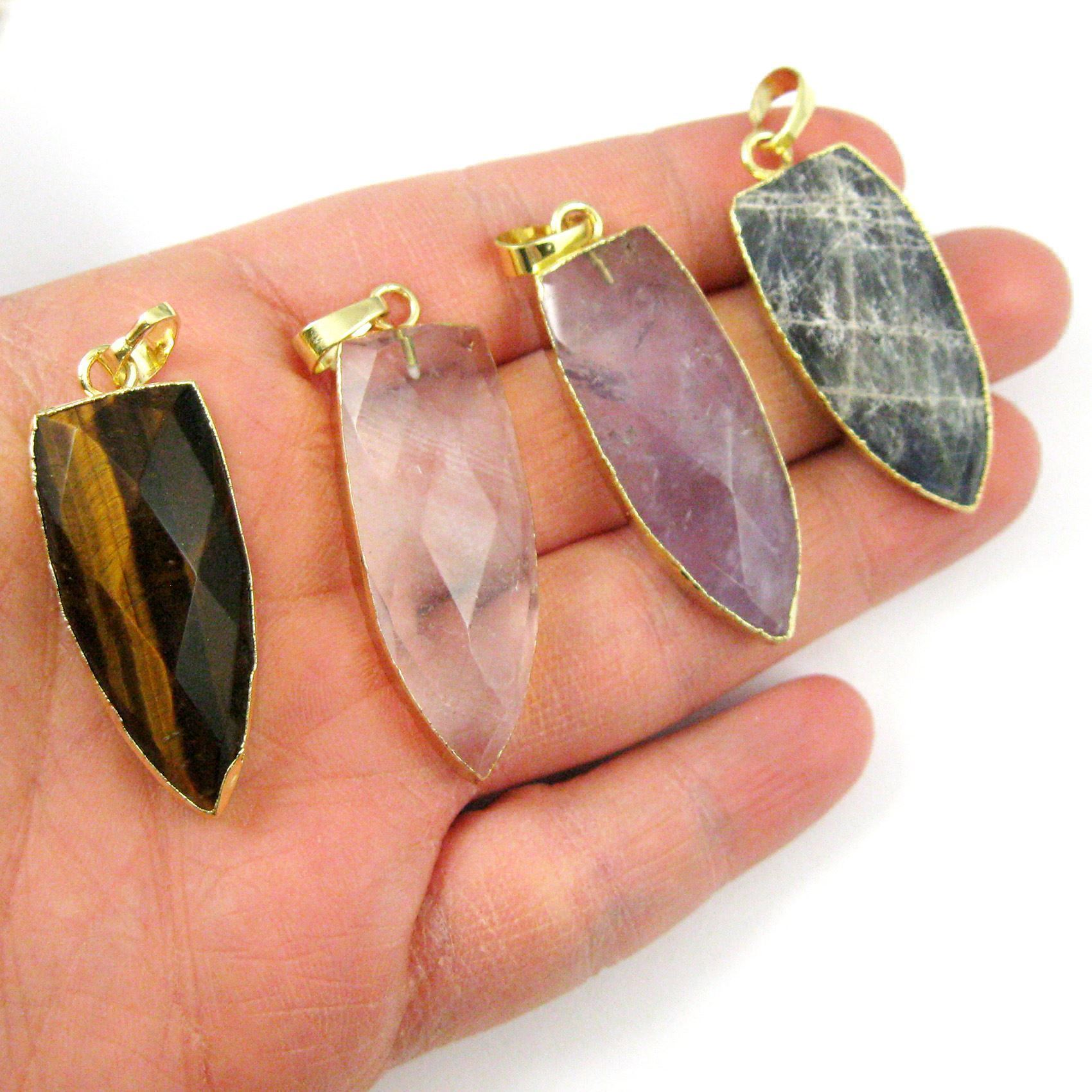 Gold Plated Faceted Arrowhead Pendant-Arrowhead charm-Natural Gemstone Spike Pendant - Pink Amethyst - 40mm