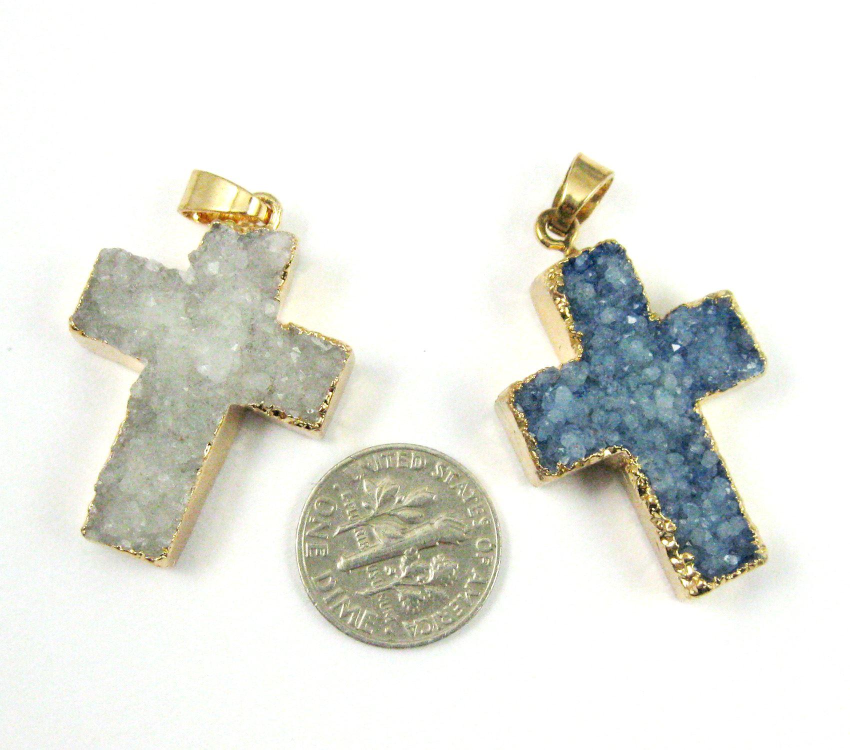 Natural Agate Druzy Pendant, Purple Druzy Cross ,Agate Gold Edging, Large Druzy Small Cross Pendant- 30mm