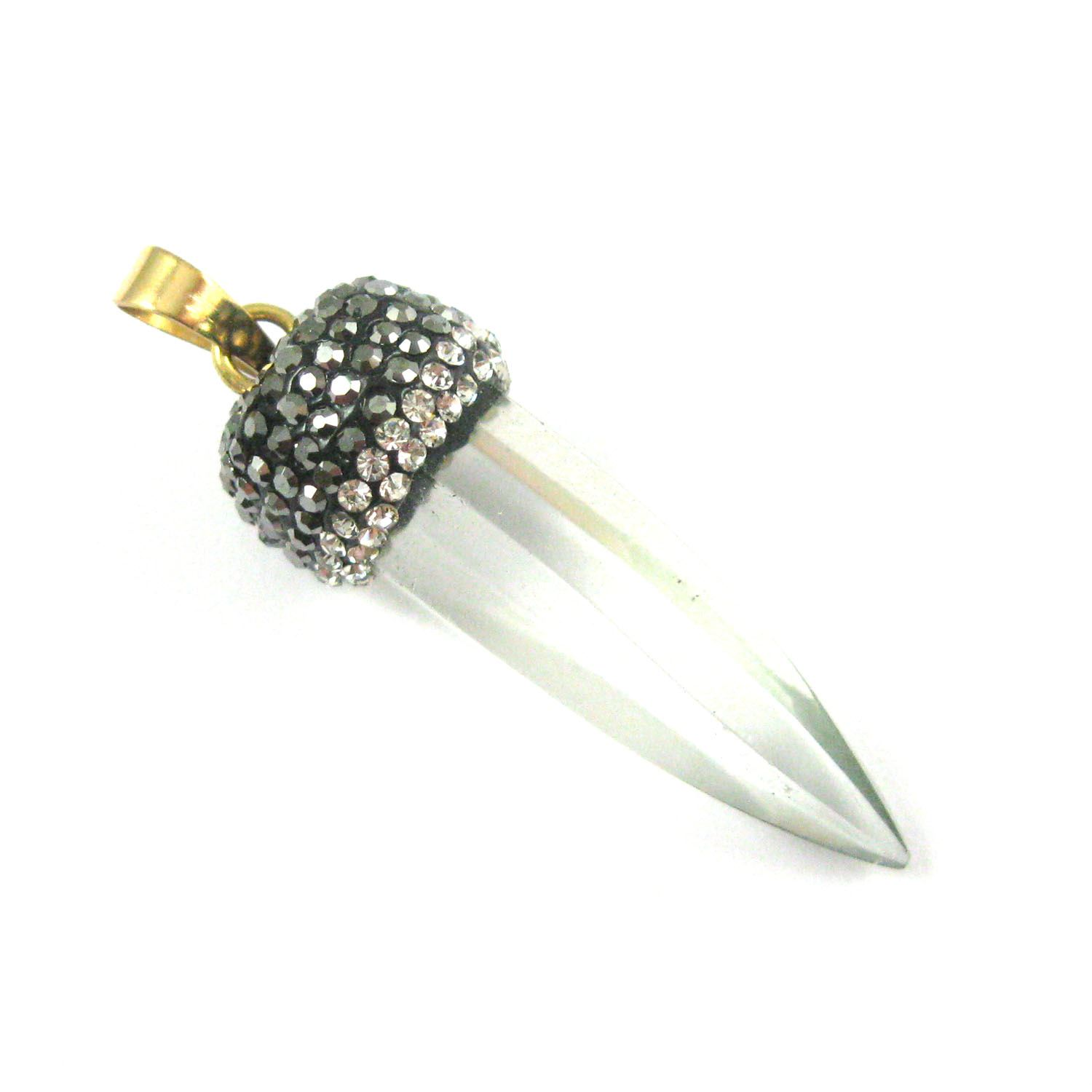 Natural Crystal Quartz Pave Pendant, Spike Pendulum Necklace Zircon Pandant - 53mm