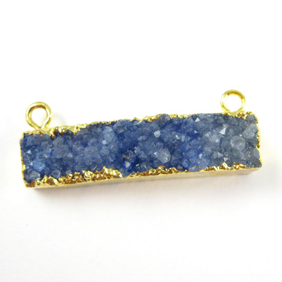 Druzy Gemstone Bar Pendant, Natural Rainbow Agate Gold Dipped Connector Pendant, Top Rings - Blue Agate -35mm