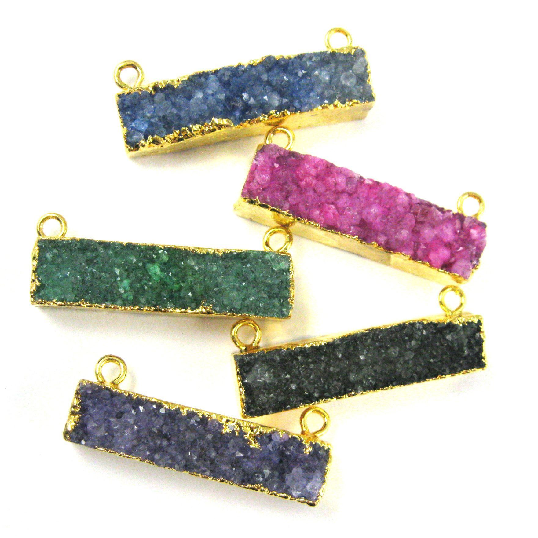 Druzy Gemstone Bar Pendant, Natural Rainbow Agate Gold Dipped Connector Pendant, Top Rings - Pink Agate -35mm