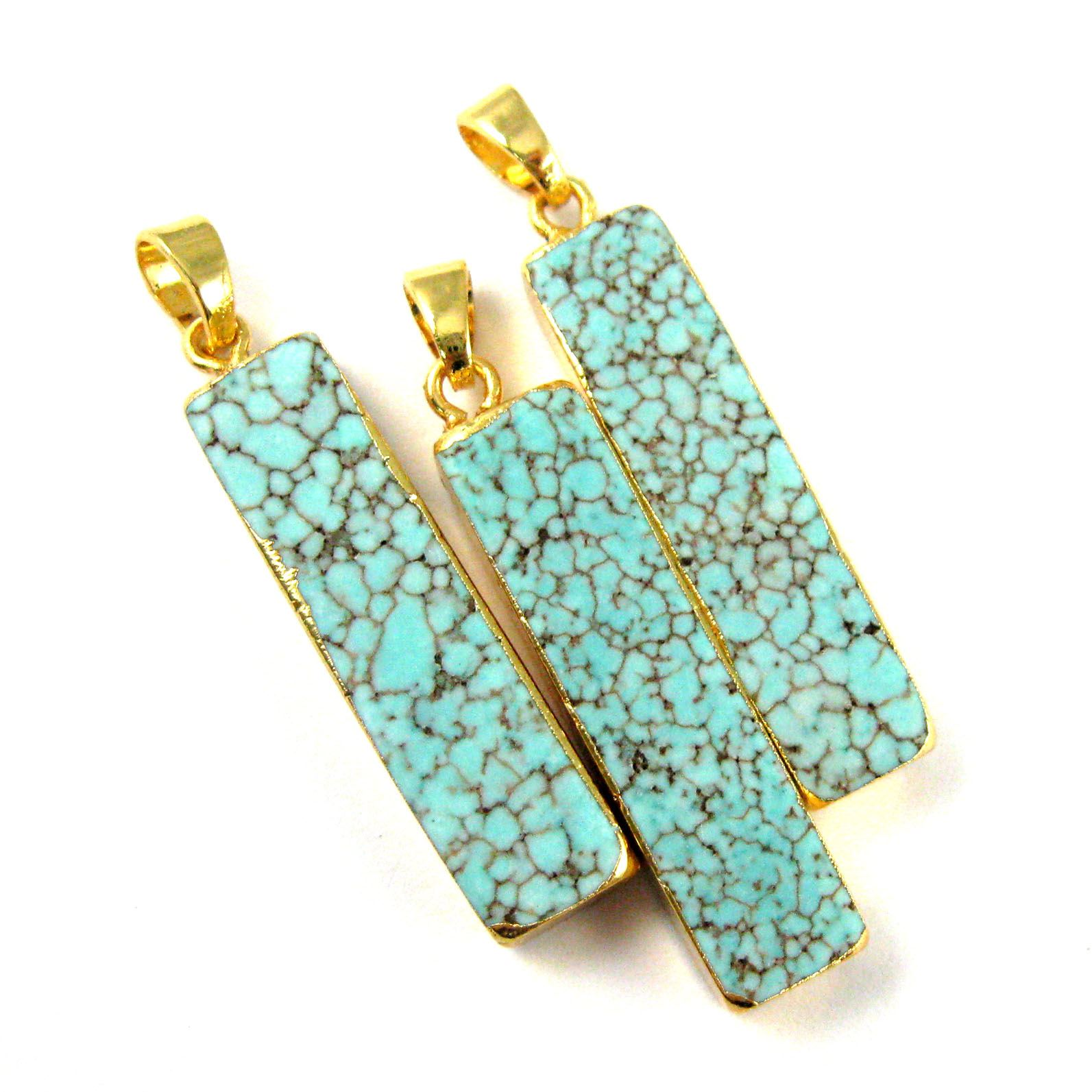 Turquoise Bar Pendant, Long Gem Bar Pendant, Turquoise Nature Stone Gold plated, Gold Dipped Gemstone-34mm