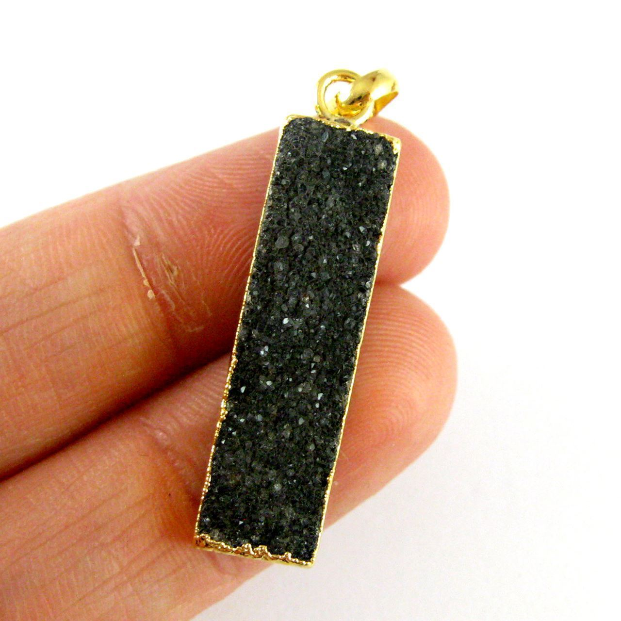Natural Druzy Agate Bar Pendant, 24K Gold plated Long Vertical Bar-Black