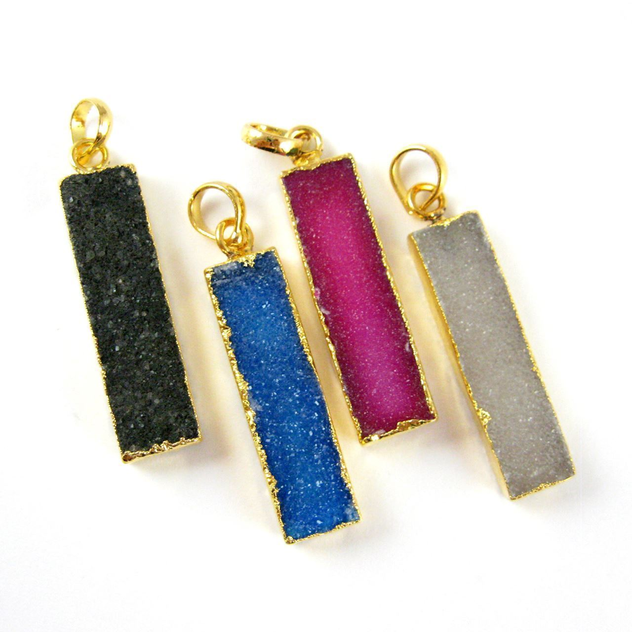 Natural Druzy Agate Bar Pendant, 24K Gold plated Long Vertical Bar-Pink