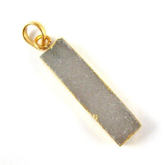 Natural Druzy Agate Bar Pendant, 24K Gold plated Long Vertical Bar-Grey