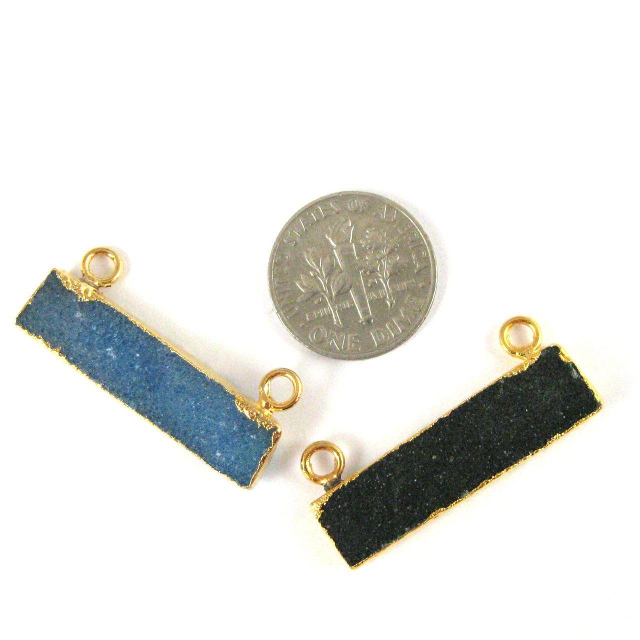 Natural Druzy Agate Bar Connector Pendant, 24K Gold plated Long Horizontal Bar-Black