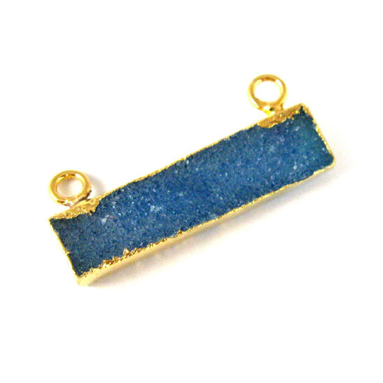 Natural Druzy Agate Bar Connector Pendant, 24K Gold plated Long Horizontal Bar-Blue
