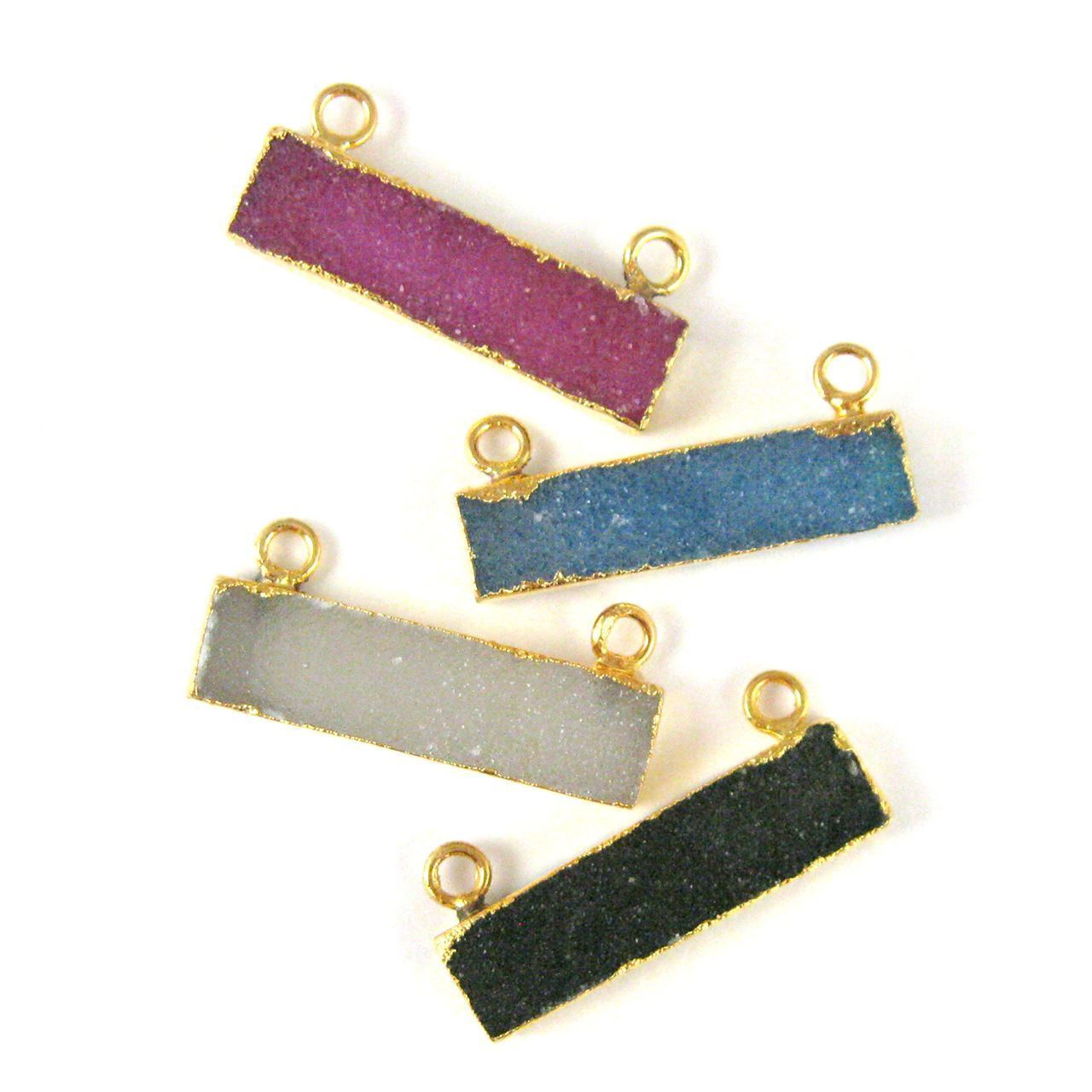 Natural Druzy Agate Bar Connector Pendant, 24K Gold plated Long Horizontal Bar- Pink
