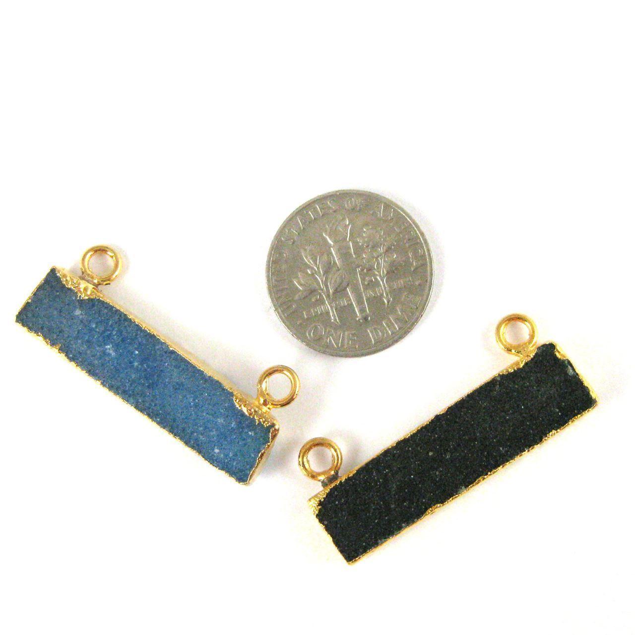 Natural Druzy Agate Bar Connector Pendant, 24K Gold plated Long Horizontal Bar- Pink