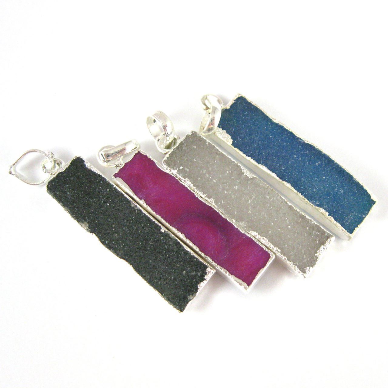 Natural Druzy Agate Bar Pendant, Silver dipped Long Vertical Bar-Blue