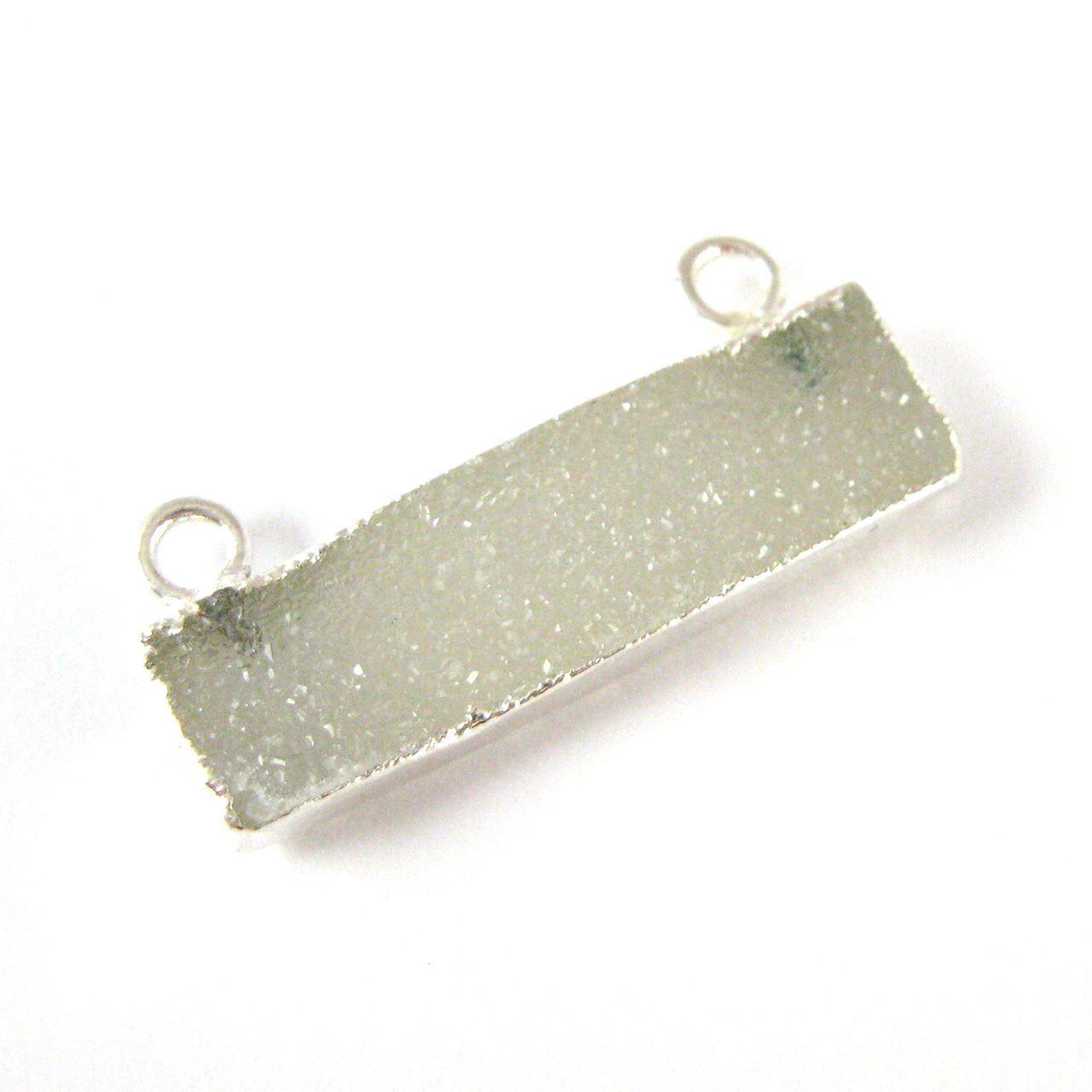 Natural Druzy Agate Bar Connector Pendant, Silver plated Long Horizontal Bar-Grey